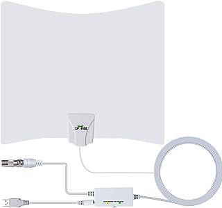 室内アンテナ HDTVアンテナ 100KM受信範囲 信号ブースター付き UHF VHF対応 全種類テレビ対応 5mケーブル (White)