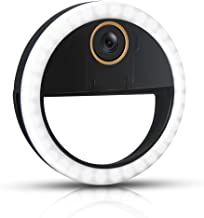 GLOUE Selfie Light Ring Led Circle Clip-on Selfie Fill Light with 36 Led Bubbles USB Rechargeable Portable for iPhone(Black, 1 Pack)