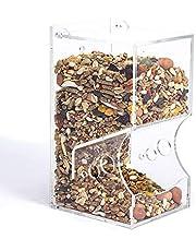 LKHF Comedero para hámster, dispensador de Alimentos acrílico Transparente, comedero automático por Gravedad Adecuado para Alimentar hámsteres, cobayas, Palomas, Loros, pájaros, erizos pequeños y ani