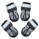 CHELLA Dog Shoes, Waterproof Dog Boots, Booties for Dog with Reflective Rugged Anti-Slip Sole and Skid-Proof for Hiking, Waliking, Snow, Rainy Day, 4PCS