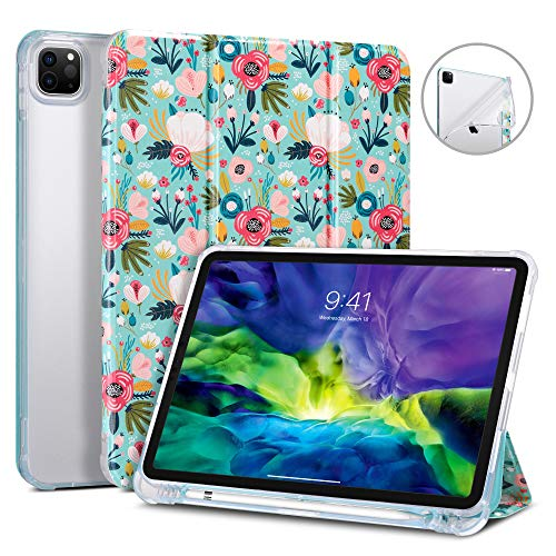 ULAK iPad Pro 11'' 2020/2018 Case with Pen Holder, Soft TPU Back Cover Slim Lightweight Trifold Stand, Auto Sleep/Wake PU Leather Protective Smart Case for iPad Pro 11 inch 2020/2018 - Colorful Flower