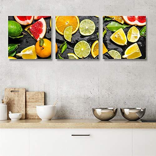 Quadri L&C ITALIA Quadri Cucina Moderna Frutta - 3 Quadretti 25 x 25 Stampa su Tela Canvas da Parete Decorazioni