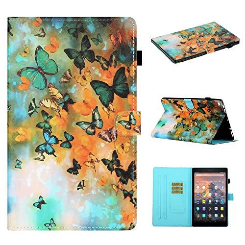 Miagon für Amazon Kindle Fire HD 10 Zoll 2019/2017/2015 Hülle,Schlank Fit PU Leder Folio Stand Brieftasche Clever Cover Cute Muster Stoßfest Shell mit Auto Aufwachen/Schlaf,Schmetterling
