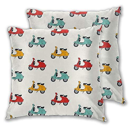 N/A Retro Vespa Quadratische Kissenhülle Kissenbezug Home für Sofa Stuhl Couch Schlafzimmer Dekorative Kissenbezüge Set von 2