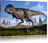 Pixxprint T-Rex Dinosaurier in der Natur als Leinwandbild | Größe: 60x40 cm | Wandbild | Kunstdruck | fertig bespannt