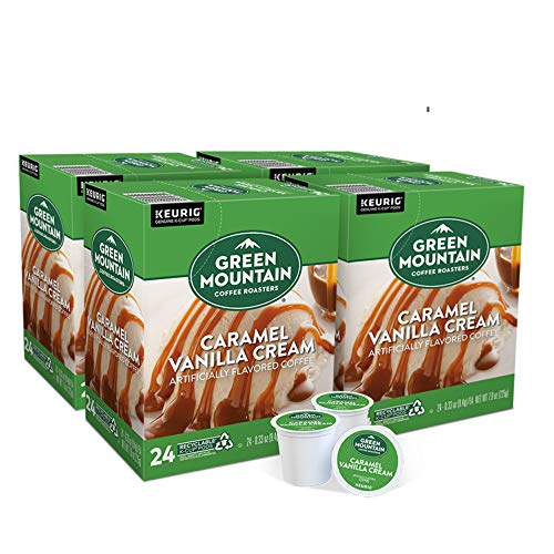 Green Mountain Coffee Roasters Caramel Vanilla Cream, Single-Serve Keurig K-Cup Pods, Flavored Light Roast Coffee, 96 Count