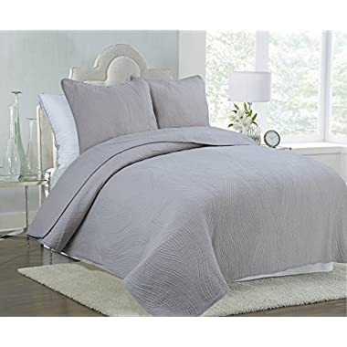 Cozy Line Home Fashions 100% COTTON Solid Grey Stream Curve Bedding Quilt Set, Reversible Bedspread Coverlet,For Bedroom/Guestroom (Stream Curve - Grey, King - 3 piece)