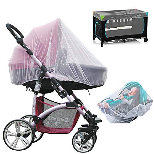 NEPAK 3 Pack zanzariera niversale per passeggino, carrozzina, culla e lettino da viaggio per attività all'aperto(Bianca)