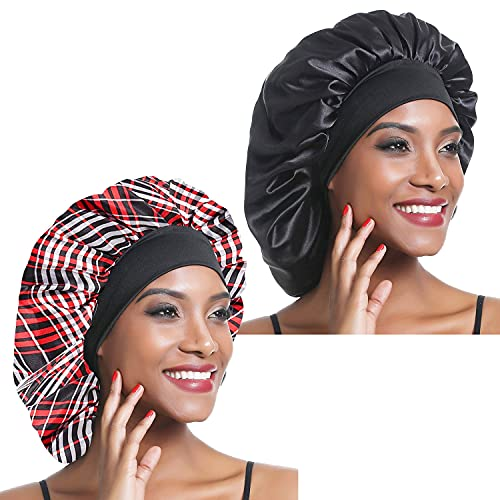 2Pcs Satin Bonnet, Silk Night Sleep Cap Wide Band Soft Sleep Hat Sleeping Hair Care Headwrap for Long Short Curly Natural Hair(Black+Checkered pattern)