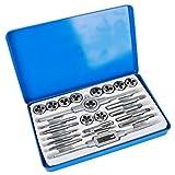 Juego de machos y matrices roscados de 24 piezas, juego de herramientas roscadas internas y externas estándar métrico y SAE con caja
