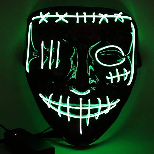 Etmury - Maschera spaventosa per Halloween, con 3 modalità di illuminazione, per adulti, bambini, per feste in maschera, carnevale, decorazione personalizzata (verde)