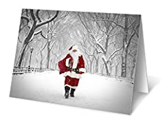 Unique Christmas card fashioned out of rich linen paper. Card comes with a Holiday Red Invitation Style Envelope Card size - 5 x 7 inch. Cards are Blank inside and our premium quality linen paper takes a pen beautifully The inside of each card has am...