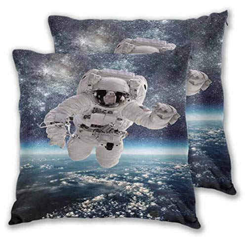 Kids Decorative Pillows Cushion Covers Outer Space Theme Astronaut in Milkyway Print Galaxy Stardust Earth Home Decor for Fall Home Decor Navy White 18' x 18', Set of 2 (Insert Not Included)