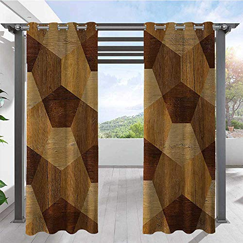Print Curtains Abstract Parquet Flooring Wooden Rustic with Geometric Monochrome Pattern Heavy Duty Outdoor Curtain Panel Perfect for Your Pergola Brown Pale Brown W108 x L96 Inch