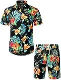 JOGAL Men's Flower Casual Button Down Short Sleeve Hawaiian Shirt Suits Black Orange Large