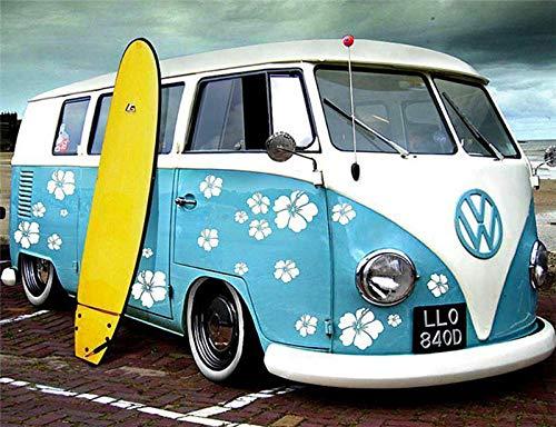 YMLINXI Pintura por Números para Adultos Y Niños Tabla De Surf De Bus DIY Pintura por Números con Pinceles Y Pinturas 40X50Cm
