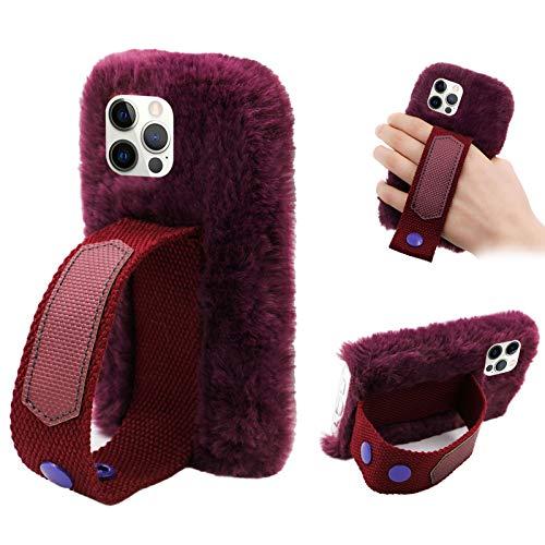 Cestor Mode Plüsch HandyHülle für Huawei P30,Frauen Niedlich Winter Warm Pelzig Weich Flauschige Faux Pelz Silikon Hülle mit Hand Armband Stand,Dunkel Lila