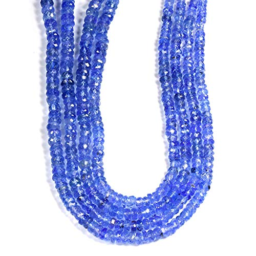 Vatslacreations AAA Quality Natural Tanzanite Beads, Tanzanite Faceted Rondelle Gemstone Beads, Tanzanite Faceted Beads, Tanzanite Beads, 20CM Tanzanite Strands