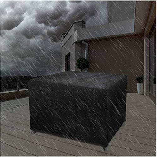 DONGZHI 420D Oxford Cloth Waterproof Garden Patio Furniture Cover Rattan Table Cube Cover Outdoor Dust Protection Cover (Color : Black, Size : 200x160x70cm)