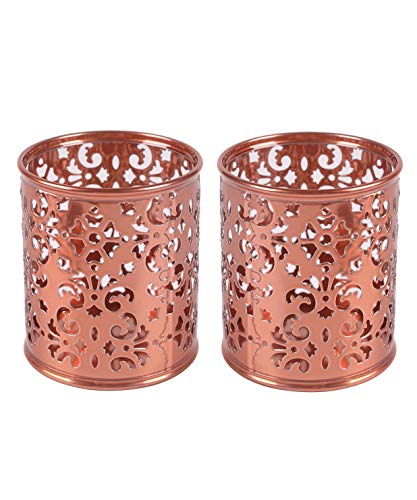 EasyPAG 2 Pcs 3-1/4 inch Dia x 3-3/4 inch High Round Floral Pencil Holder,Rose Gold