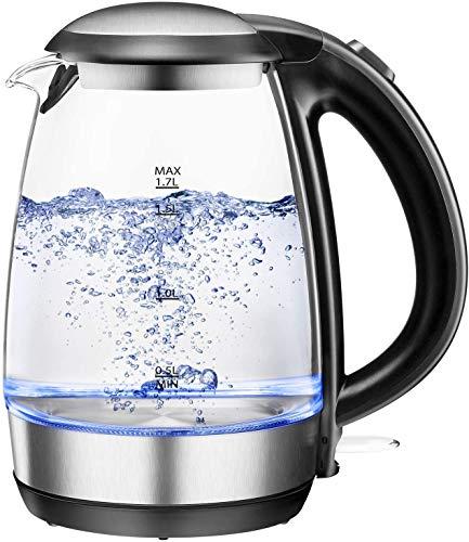Electric Kettles Cordless 1.7L, NOVETE Glass Electric Tea Kettle 2200W,...