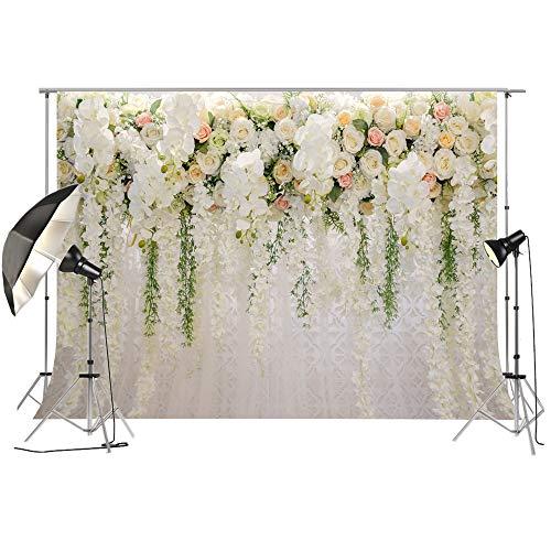 Brautdusche Große Hochzeit Floral Wand Hintergrund Weiß und Grün Rose 3D Blumen Vorhang Dessert Tischdekoration Blush Hintergrund für Fotografie FT6749
