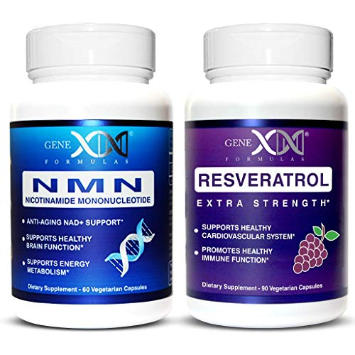 Genex NMN & Resveratrol Power Pack - Nicotinamide Mononucleotide Direct NAD+ Supplement (2X 125mg Capsules 60ct) Resveratrol 1500mg (x3 500mg Capsules 90ct).