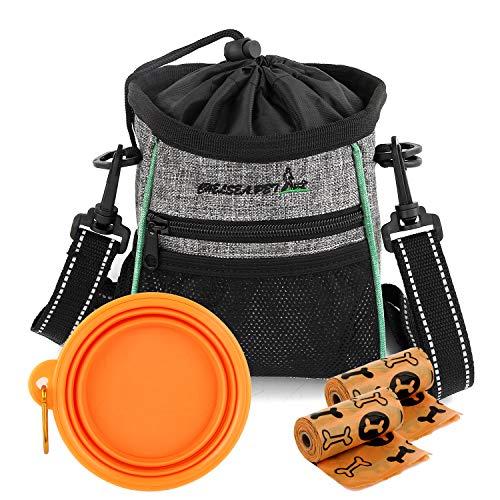 M MUNCASO - Bolsa de entrenamiento para perros, bolsa de regalo para perros, bolsa para pasear, cuenco de agua plegable de silicona para perros y 2 bolsas de basura extra para perros (naranja)