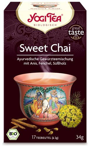 Yogi Tee, Sweet Chai, 4er SPARPACK , Biotee, Zutaten aus kontrolliert ökologischem Anbau, 17 Teebeutel, 34g