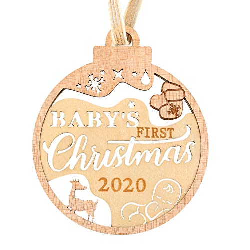 Creawoo Baby's First Christmas 2020 Ornament, Wooden Christmas Tree Ornaments, Family Holiday 1st Xmas Keepsake Gift for New Born Baby Boys, Girls and New Parents with Hollowed Design