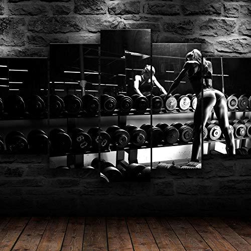 Frames,Cuadro Pared 5 Partes Panorámico,Cuadro Decorativo,Cuadro Impreso,Cuadro Deco Panel,Cuadro En Lienzo 5 Parte,Imagen Impresión,Pintura Decoración,Canvas 5 Pieza,Enmarcado Fitness Gym Fit Girl