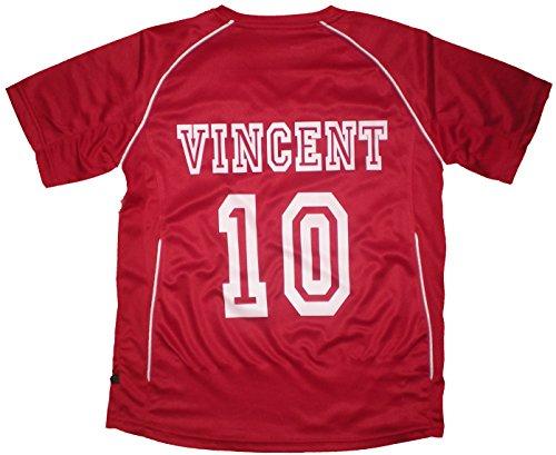 PATOUTATIS - t-Shirt - Maillot Foot personnalisé avec prénom et numéro de Votre Choix - Manches Courtes col V - JN386K - Rouge - Enfant Taille M - 122/128 cm