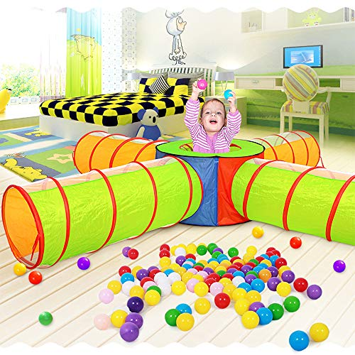 ZHZX Kids Play Tunnels, with Four Channels Indoor Outdoor Crawl Through Tunnel for Kids Dog Toddler Babies Children,Easy Setup, Lightweight Fabric, Folds Flat