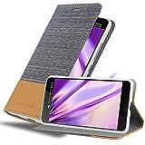 Cadorabo Hülle für HTC U Ultra - Hülle in HELL GRAU BRAUN – Handyhülle mit Standfunktion & Kartenfach im Stoff Design - Hülle Cover Schutzhülle Etui Tasche Book