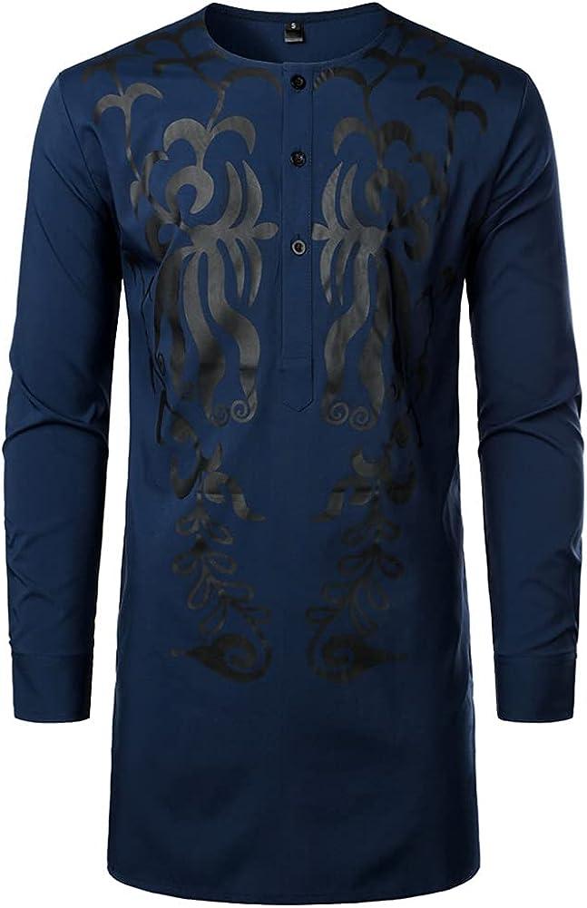 SIOFVHOI Men's African Tribal Traditional Luxury Long Sleeve Gold Print Dashiki Shirts