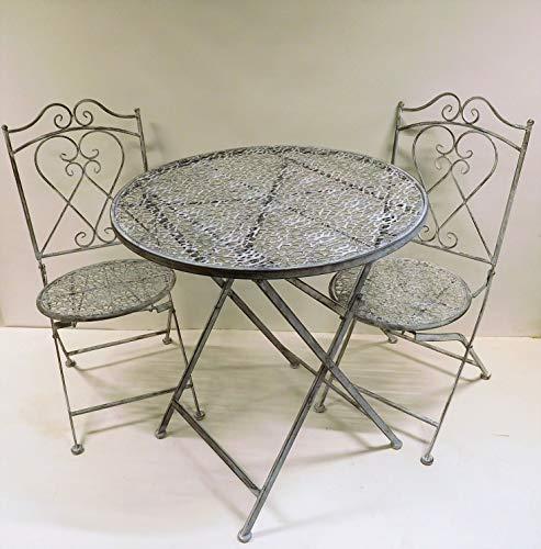 Ziegler 3tlg. Garnitur 3er Set Gartenmöbel 2 Gartenstühle Gartentisch Tisch Stuhl Metall grau Shabby SW190202 + SW190203