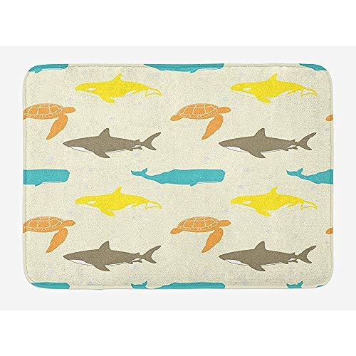 Ruan-Shop Meerestiere Badematte, Muster mit Walhai und Schildkröte Aquarium Doodle Style Marine Life Fußmatten Elfenbein Taupe Pfirsich