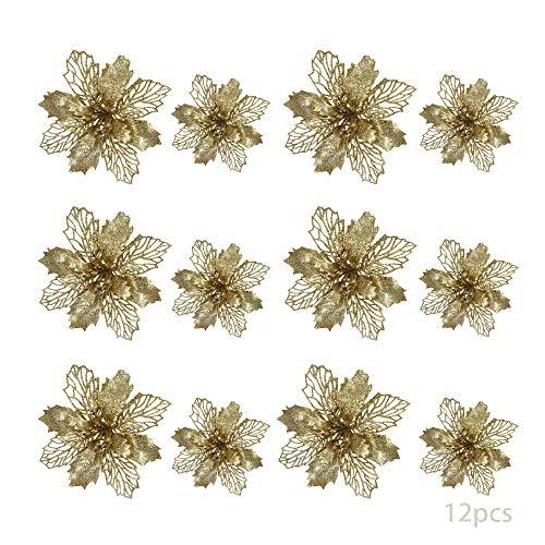TDCQ 12pcs Fiori Artificiali Natalizi,Christmas Glitter Poinsettia,Stelle di Natale Fiori Artificiali Rosse,Poinsettia Artificiale,Stelle di Natale Fiori Artificiali,Christmas Glitter (d'oro)