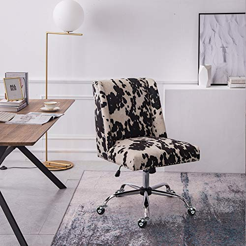 Warmiehomy Velvet Office Chair For Home-Square Upholstered Cushion Computer Chair Adjustable Office Desk Chair Cow color