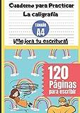 Cuaderno para Practicar la Caligrafía Tamaño A4 ¡Mejora tu escritura! - 120 Páginas para escribir: Diseño bonito de cielo azul y arco iris - Papel de ... para niños en educación primaria y ESO