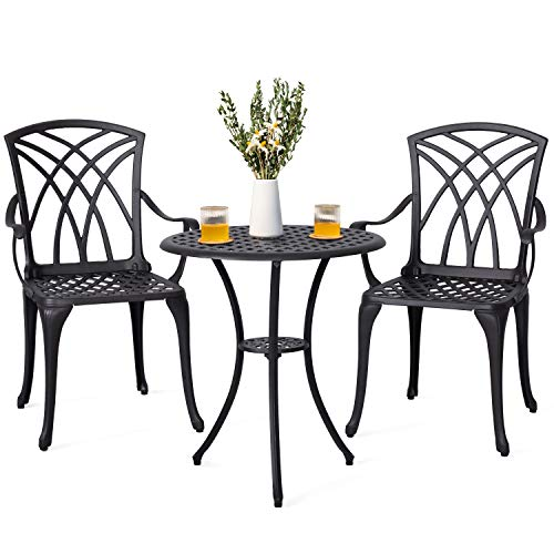 Nuu Garden 3 Piece Outdoor Bistro Set, Bistro Table Set with Umbrella Hole for Patio – Cast Aluminum, Antique Bronze