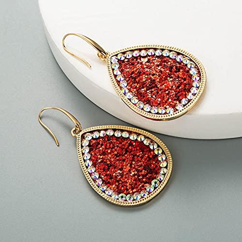 XCWXM Moda exagerada Pendientes de Diamantes de Cuero Bohemios con Estampado de Leopardo Pendientes bañados en Oro borlas largas para Damas Accesorios de Fiesta-Rojo