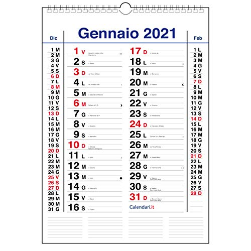 Calendario 2021 da muro mod. OLANDESE classico 3 mesi per pagina. Calendario con santi e lune