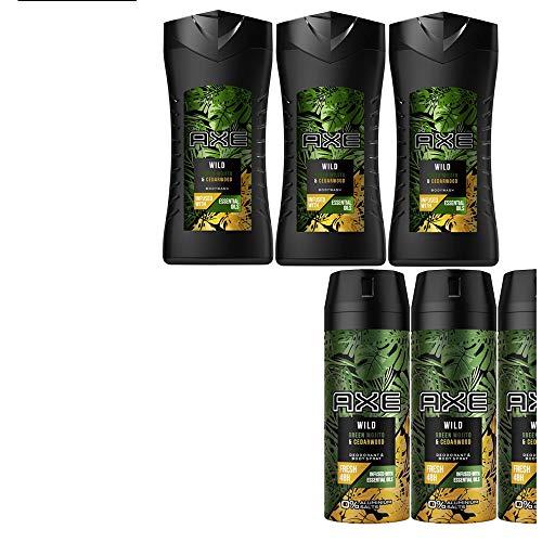7tlg. STUDIO.MUNET Set: 3x150ml Axe Wild Green Wood & Cedarwood Männer Deospray Deodorant Body Spray & 3x250ml Bodywash Duschgel + 1 x Dustbag von STUDIO.MUNET