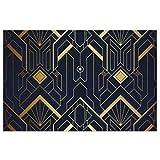 Alfombra de Puerta Alfombra de Bienvenida Art Deco Abstracto Patrón Azul y Dorado Patio Exterior Alfombra de PVC, Alfombra de Bienvenida Alfombras de área Alfombras de Piso Alfombra Antideslizante