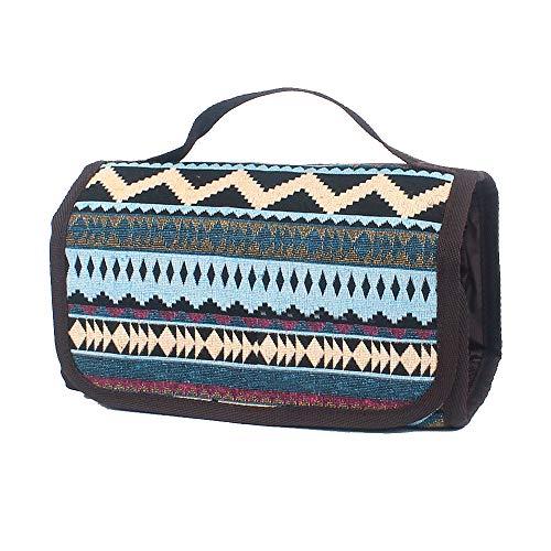 Neceser portátil de Viaje, Bolsa de Almacenamiento Estilo étnico para Negocios, Vacaciones, hogar Azul Azul 21.5 * 12 * 3.5cm