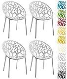 CLP 4er-Set Gartenstuhl Hope Aus Kunststoff I 4 x Wetterbeständiger Stapelstuhl Mit max 150 KG Belastbarkeit, Farbe:grau