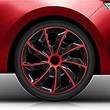 Autoteppich Stylers (Größe wählbar) 14' 14 Zoll Radkappen/Radzierblenden QuB Bicolor (Schwarz-Rot) passend für Fast alle Fahrzeugtypen – universal