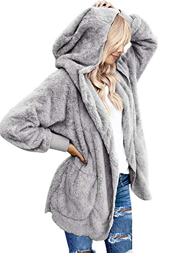 Image of the LookbookStore Women's Oversized Open Front Hooded Draped Pocket Cardigan Coat Size L (Fit US 12 - US 14) Light Grey