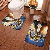 YHKC Decoración del hogar Alfombras y moquetas Alfombras de baño Hogar y Cocina Mexican Flag Skull Head USA 2 Piece Bathroom Mat Set Pedestal Rug Bath Mat Rug Non Slip Doormat
